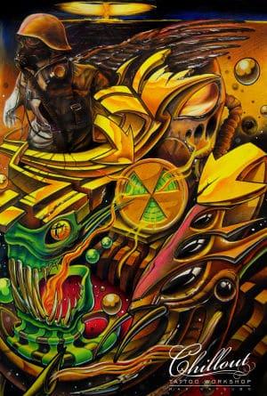 Art тату эскиз органика ATOMS