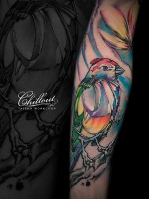 Татуировка Птица графика на руке