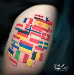 Тату флаги на ноге. Countries-TRAVEL