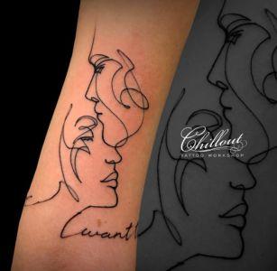 Татуировка он и она на руке. Графика