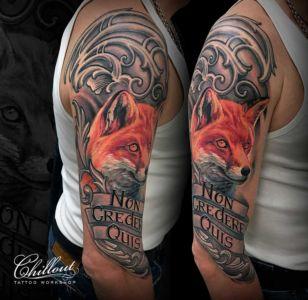 Татуировка лис на руке
