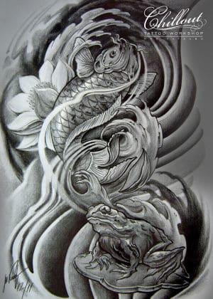 Art тату эскиз Карп япония