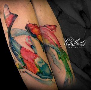 Татуировка рыбы в акварели