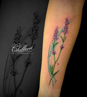 Татуировка лаванда акварель а руке
