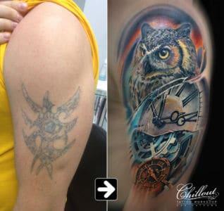 Перекрытие старой татуировки - Сова и часы