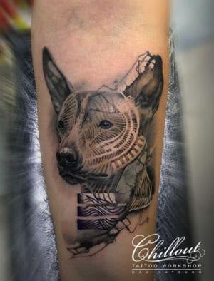 Татуировка собака XOLO графика