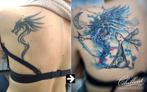 Перекрытие старой татуировки, заяц и луна